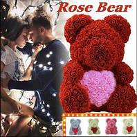 Мишко з 3D троянд 40 см в красивій подарунковій упаковці ведмедик Тедді з троянд, фото 1