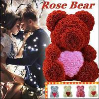 Мишка из 3D роз 40 см в красивой подарочной упаковке мишка Тедди из роз