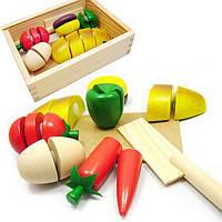 Набор для резки деревянных фруктов, овощей, хлеба на липучках, фото 1