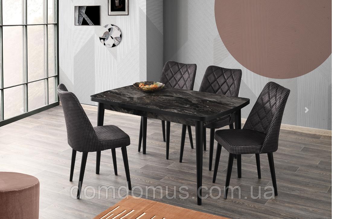 Комплект обідній меблів POLO Masa siyah member, 130*80 см - стіл + 4 стільця Mobilgen, Туреччина