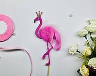 Топпер Фламинго розовый, Топпер Фламинго на торт, Топер Фламинго с натуральными перьями, Fortune3D