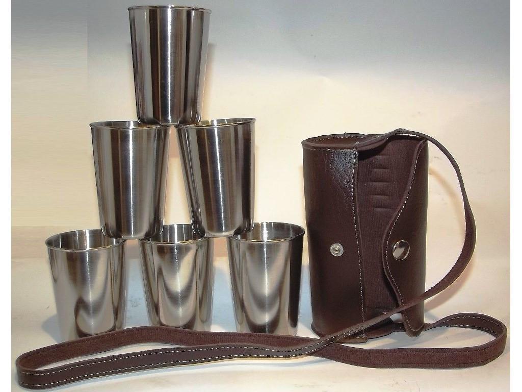 Стопки з нержавіючої сталі 6 шт. (шкіряна сумка з ременем) Об'єм: 200 мл
