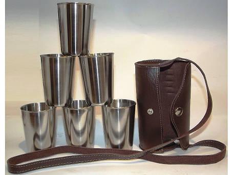 Стопки з нержавіючої сталі 6 шт. (шкіряна сумка з ременем) Об'єм: 200 мл, фото 2
