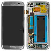 Дисплей для Samsung Galaxy S7 Edge G935F, Galaxy S7 Edge Duos G935FD Оригинал Серебристый с сенсором и рамкой #GH97-18533B