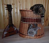 Домик для животных с лежаком, плетенный из лозы., фото 1