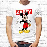 "Футболка мужская с принтом, Swag Mickey Mouse (Микки Маус) ""Zabey"" Push IT , белый"