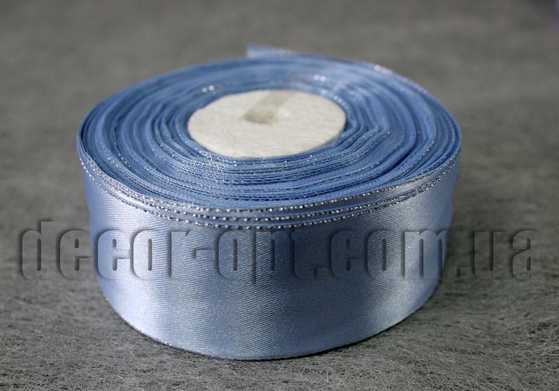 Лента атласная с люрексом голубая 4,0 см 36ярд