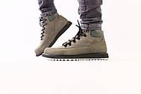 Мужские серые зимние ботинки из нубука, на шнуровке, 43