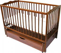 Кроваткадля младенцев Радуга шарнир подшипник с откидным бортиком 120х60 см., тик (5594)
