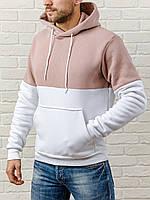 Мужская толстовка с капюшоном теплая - эксклюзивный дизайн худи:  пудра/белый, кофта, кенгурушка / ОСЕНЬ-ЗИМА, фото 1