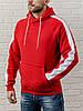 Красная мужская толстовка с капюшоном, теплая худи с лампасами, кофта, кенгурушка / ОСЕНЬ-ЗИМА