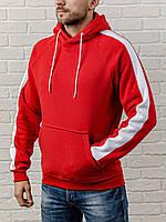 Красная мужская толстовка с капюшоном, теплая худи с лампасами, кофта, кенгурушка / ОСЕНЬ-ЗИМА, фото 1
