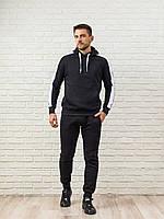 Теплый мужской спортивный костюм, черная худи с лампасами и теплые спортивные штаны (цвет на выбор), фото 1