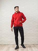 Теплый мужской спортивный костюм, красная худи и теплые спортивные штаны (цвет на выбор), фото 1