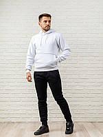 Теплый мужской спортивный костюм, белая худи и теплые спортивные штаны:  черные/серые (цвет на выбор), фото 1