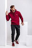 Теплый мужской спортивный костюм, бордовая худи и черные штаны (с любым значком бренда), фото 1