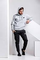 Теплий чоловічий спортивний костюм, сіра худі і чорні штани (з будь-яким значком бренду), фото 1