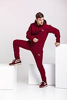 Теплый мужской спортивный костюм, бордовая худи и бордовые штаны (с любым значком бренда), фото 1