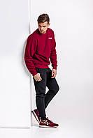 Зимний мужской спортивный костюм - бордовый теплый свитшот, черные штаны (с лого любого бренда), фото 1
