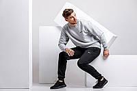 Зимний мужской спортивный костюм - серый теплый свитшот, черные теплые штаны (с лого любого бренда), фото 1