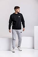 Зимний мужской спортивный костюм - черный теплый свитшот, серые теплые штаны (с лого любого бренда), фото 1