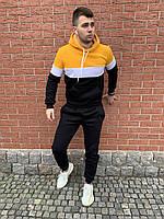Теплый мужской спортивный костюм: желто-черная худи и черные штаны / Осень-зима, фото 1