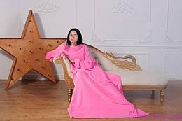 Мягкий плед для дома с рукавами 130х170см., розовый