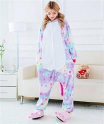 Пижама кигуруми из флиса Единорог в звездочку, размер L, цветная