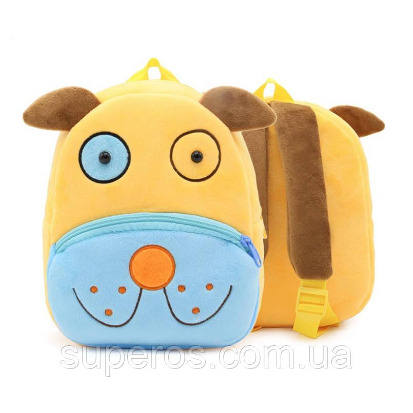 Детский плюшевый рюкзак Kakoo Желто-синий пес (оригинал)