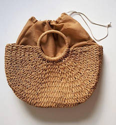 Соломенная сумка с ручками Сен-Лоран (123862)