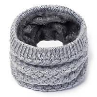 Теплый снуд с меховой подкладкой, вязаный женский серый бафф на меху, хомут крупной вязки