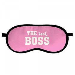 """Маска для сна Presentville """"Real boss"""", 18,5х8,5 см., розовый"""