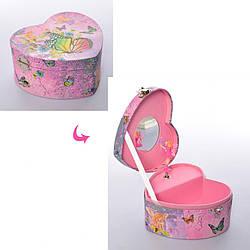 Шкатулка музыкальнав форме сердца с зеркалом под крышкой и фигуркой, розовая