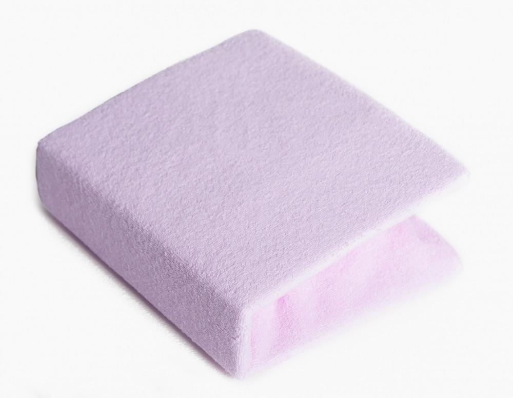 Детская простынь махровая на резинке Twins 06 ,розовая