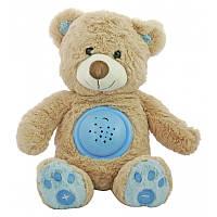 """Детский ночник проектор с музыкой светящийся """"Мишка"""" Baby Mix STK-18956, голубой 25 см."""