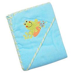 Детское махровое полотенце-уголок для купания новорожденного Baby Mix Frog CY-33, 100x100 см., зеленый