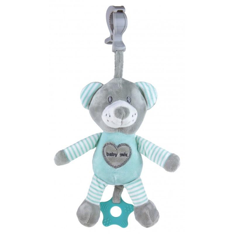 """Детская игрушка-подвеска с вибрацией плюшевая для коляски Baby Mix STK-19393 """"Мишка"""" 30 см., мятный (9831)"""