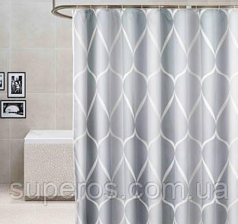 Тканинна шторка для ванної 180х200 см Стильна геометрія (сірий принт)