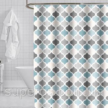 Тканевая шторка для ванной 180х200 см Стильная геометрия (морской и серый)