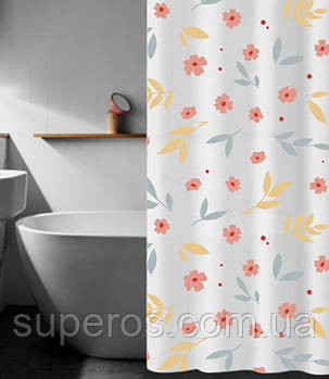 Шторка для ванної 180х180 см Квіточки