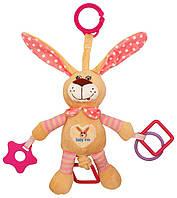 """Плюшевая детская подвеска з вибро на кроватку """"Кролик"""" Baby Mix STK-17504 P, розовый (8191)"""