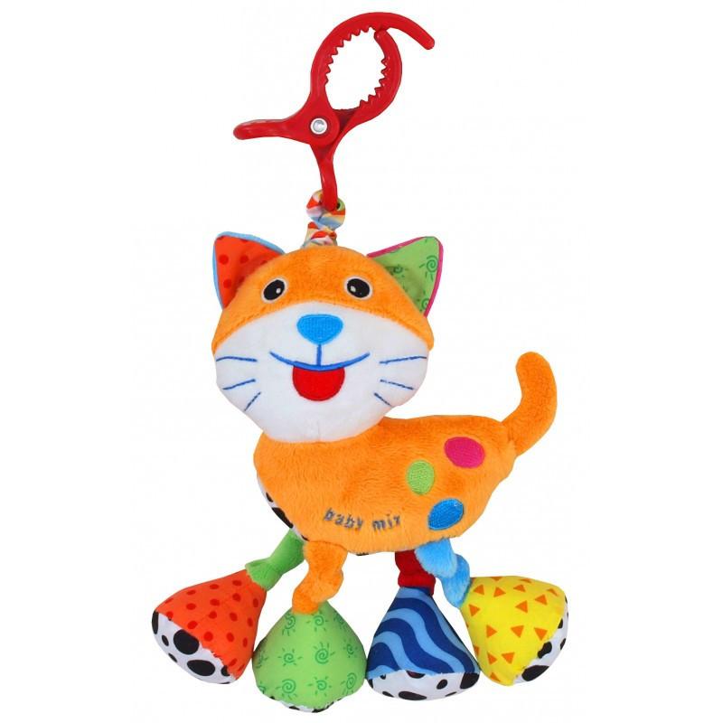 Плюшевая игрушка подвеска вибрирующая с клипсой на коляску Baby Mix Кот с вибро TE-8376-21