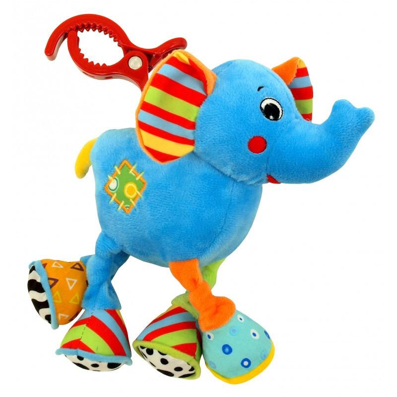 Детская плюшевая игрушка вибро Слоник с клипсой для автокресла, коляски Baby Mix TE-8562A-20 (9249)