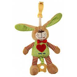 Детская музыкальная плюшевая игрушка на кроватку Заяц 25 см. Baby Mix STK-16395 (8017)
