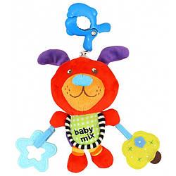 Плюшевая детская игрушка для коляски, автокресла Baby Mix P/1122-EU00 Собачка с клипсой (7314)