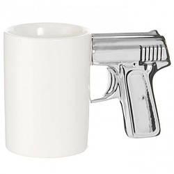 Чашка Пистолет белая с серебряной ручкой (123693)