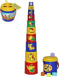 Пирамидка детская из пластика №3 Polesie (в сеточке), 16 элементов