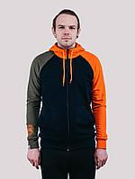 Толстовка  MIX HOOD KHK Urban Planet S 90% котон, 10% еластан Хаки/темно-синий/оранжевый UP 3-3-0-66
