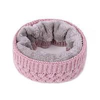 Вязаный розовый снуд на меху, теплый бафф, хомут крупной вязки женский, детский, на девочку