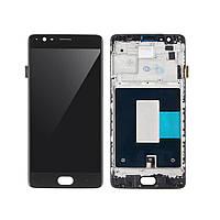 Дисплей для OnePlus 3 A3003, 3T A3010 Оригинал Черный с сенсором и рамкой